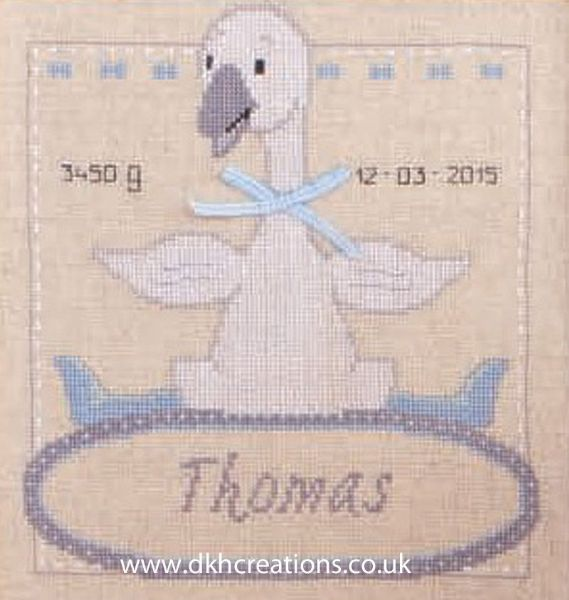 Goose With Bow Birth Sampler Cross Stitch Kit